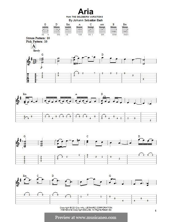 Вариации Гольдберга, BWV 988: Aria, for easy guitar (with tab) by Иоганн Себастьян Бах