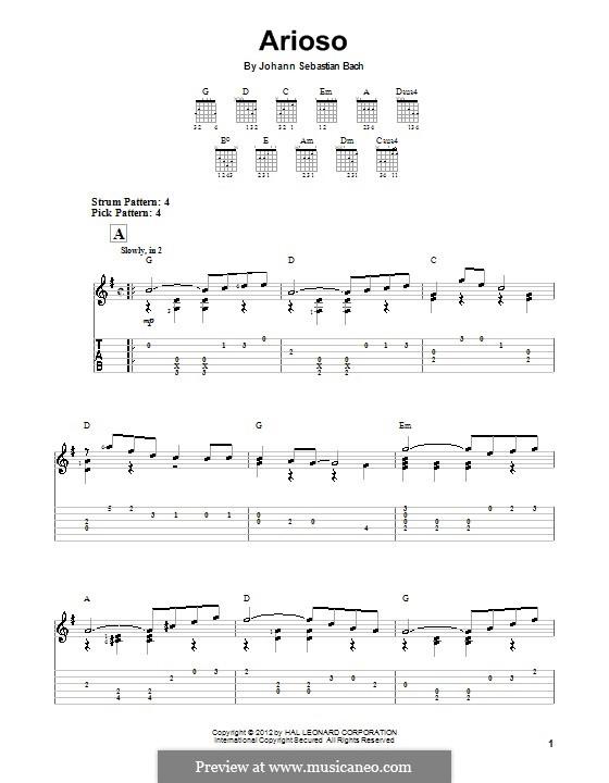 Ариозо соль мажор: Для гитары (легкий уровень) (with tab) by Иоганн Себастьян Бах