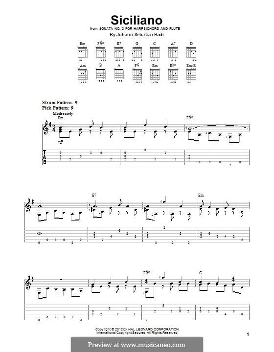 Соната для флейты и клавесина No.2 ми-бемоль мажор, BWV 1031: Сицилиана. Переложение для гитары by Иоганн Себастьян Бах