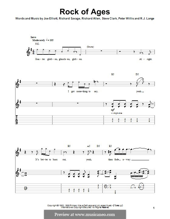 Rock of Ages (Def Leppard): Для гитары с табулатурой by Joe Elliott, Peter Willis, Richard Allen, Richard Savage, Robert John Lange, Steve Clark