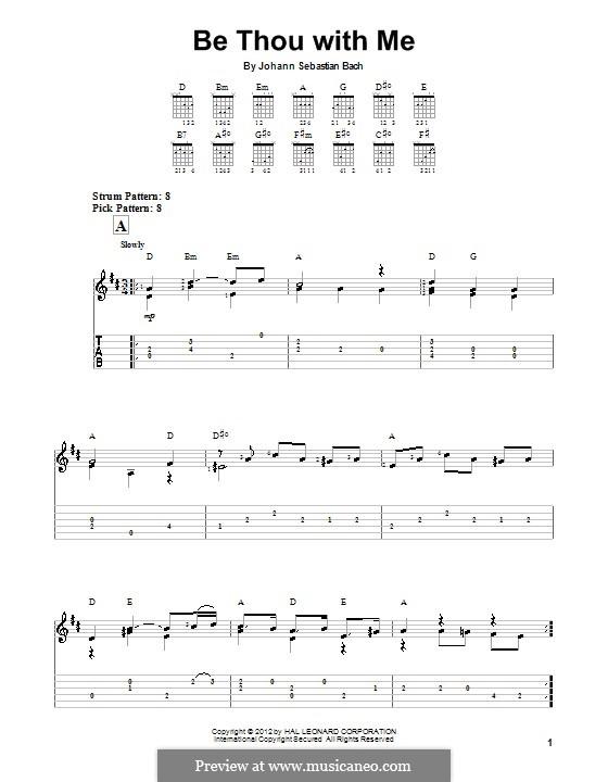 No.25 Bist du bei mir (You Are with Me), Printable scores: Для гитары (легкий уровень) (with tab) by Иоганн Себастьян Бах