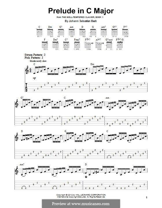 Прелюдия и фуга No.1 до мажор, BWV 846: Прелюдия, для гитары by Иоганн Себастьян Бах