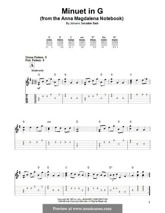 No.7 Менуэт соль мажор, BWV Anh.116: Для гитары by Иоганн Себастьян Бах