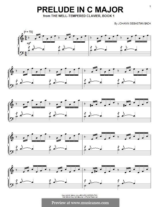 Прелюдия и фуга No.1 до мажор, BWV 846: Прелюдия, для фортепиано by Иоганн Себастьян Бах