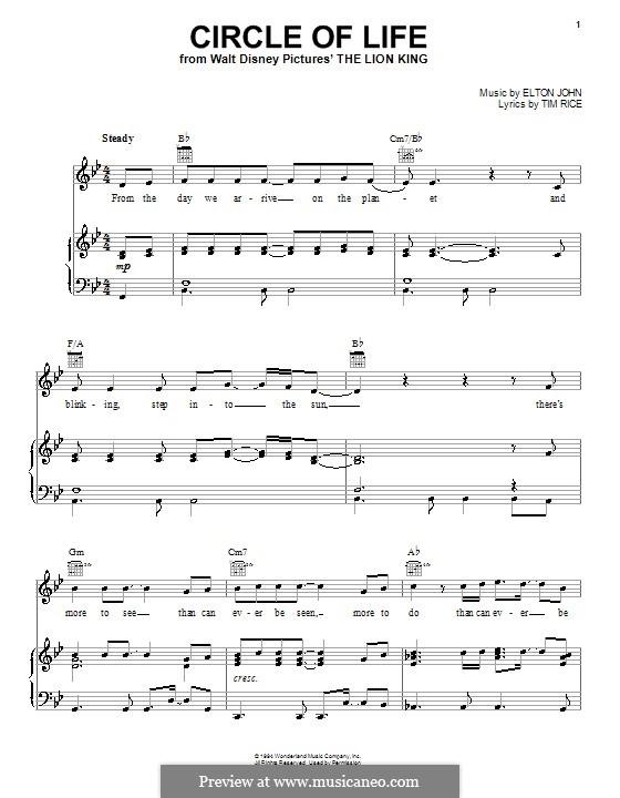 Circle of Life (from The Lion King), piano-vocal score: Для голоса и фортепиано или гитары (си бемоль мажор) by Elton John