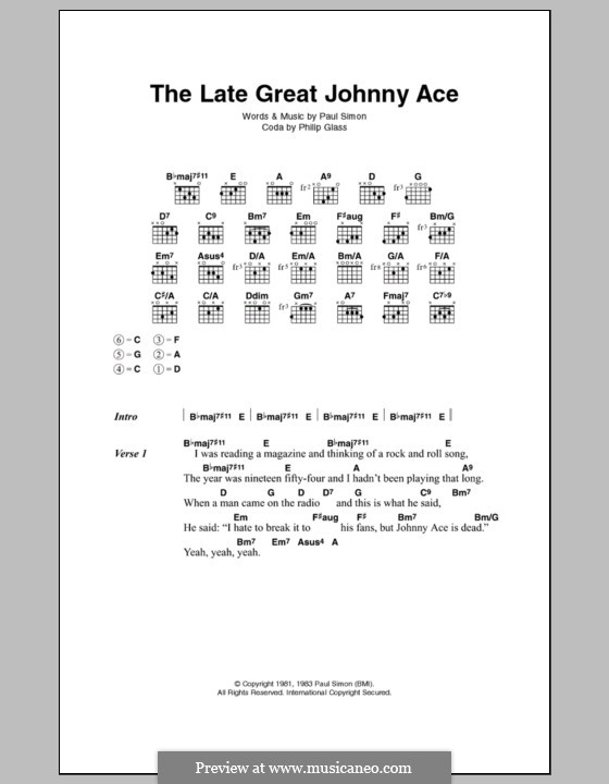 The Late Great Johnny Ace: Текст, аккорды by Paul Simon
