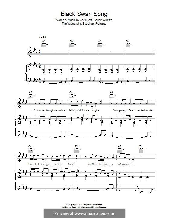 Black Swan Song (Athlete): Для голоса и фортепиано (или гитары) by Carey Willetts, Joel Pott, Steven Roberts, Timothy Wanstall
