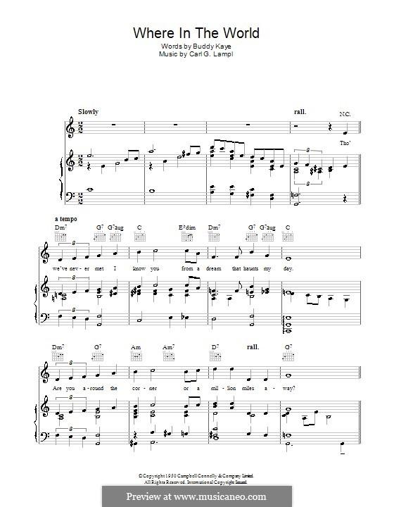 Where in the World (Dick Haymes): Для голоса и фортепиано (или гитары) by Carl G. Lampl