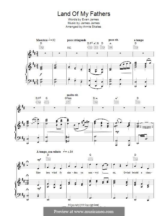 Land of My Fathers: Для голоса и фортепиано (или гитары) by James James