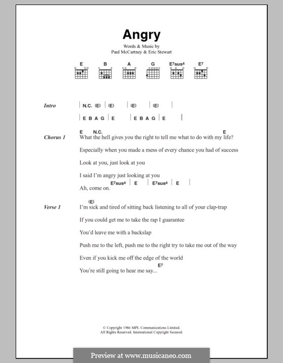 Angry: Текст и аккорды by Eric Stewart, Paul McCartney