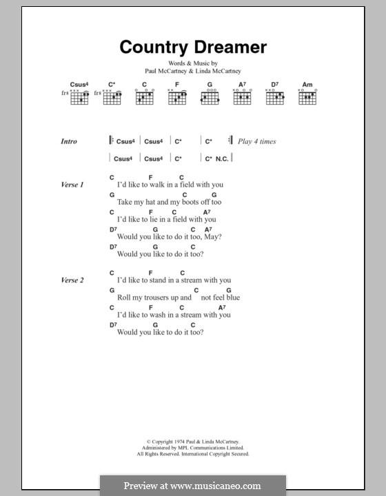 Country Dreamer: Текст, аккорды by Linda McCartney, Paul McCartney