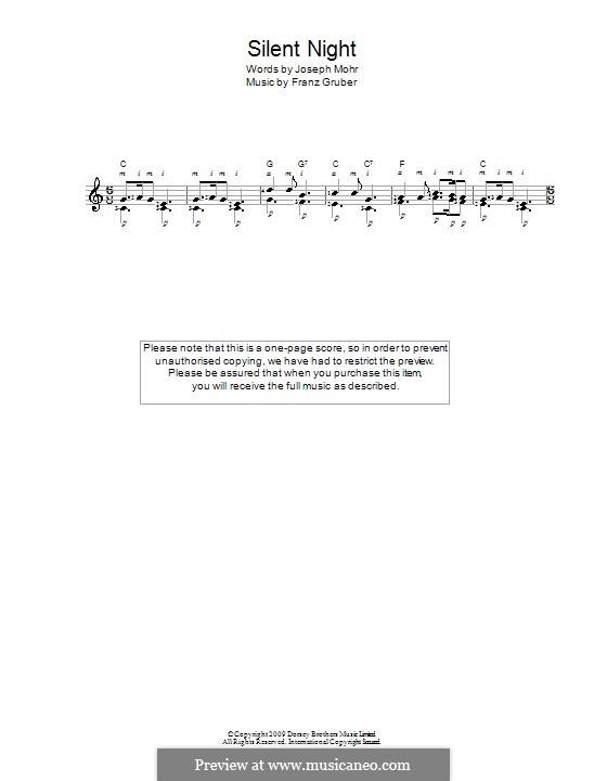 Тихая ночь (ноты для печати): Для гитары by Франц Ксавьер Грубер