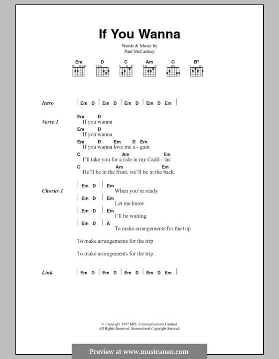 If You Wanna: Текст, аккорды by Paul McCartney