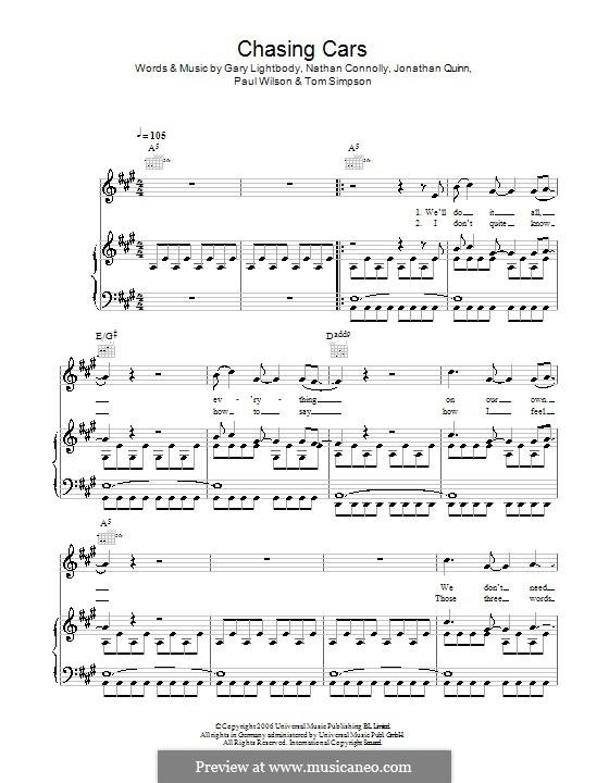 Chasing Cars (Snow Patrol): Для голоса и фортепиано (или гитары) by Gary Lightbody, Jonathan Quinn, Nathan Connolly, Paul Wilson, Tom Simpson