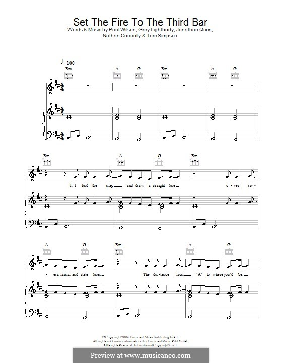 Set the Fire to the Third Bar (Snow Patrol): Для голоса и фортепиано (или гитары) by Gary Lightbody, Jonathan Quinn, Nathan Connolly, Paul Wilson, Tom Simpson