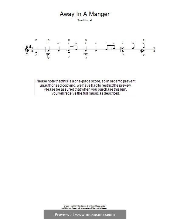Away in a Manger: Для гитары by Уильям (Джеймс) Киркпатрик