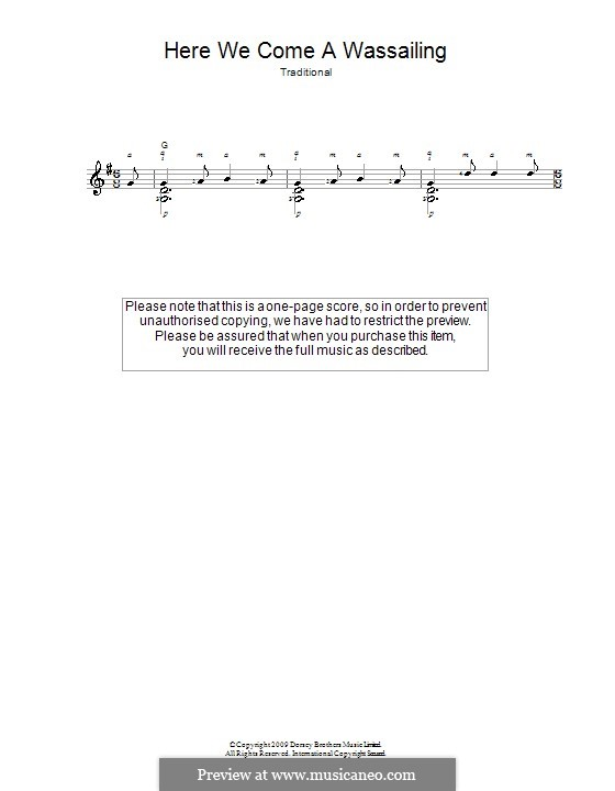 Here we Come a-Wassailing (Printable Scores): Для гитары by folklore