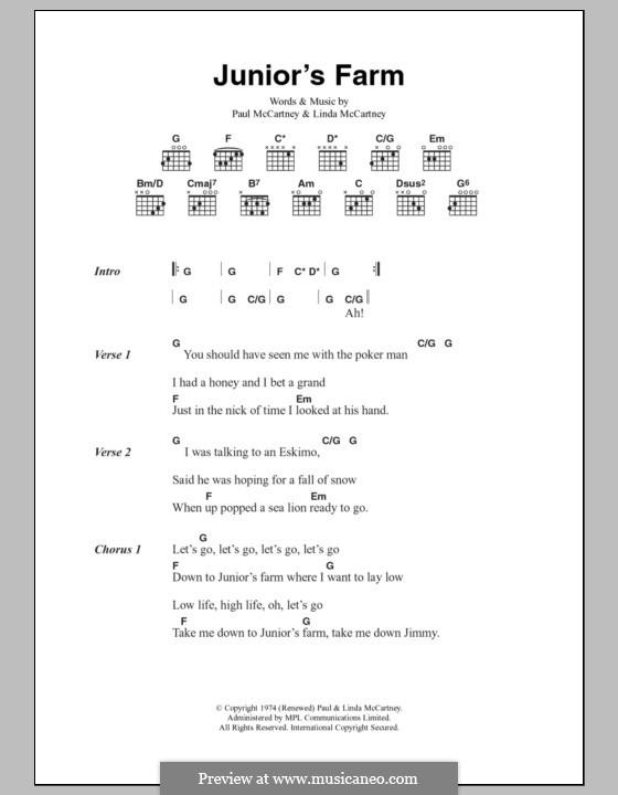 Junior's Farm (Wings): Текст, аккорды by Linda McCartney, Paul McCartney
