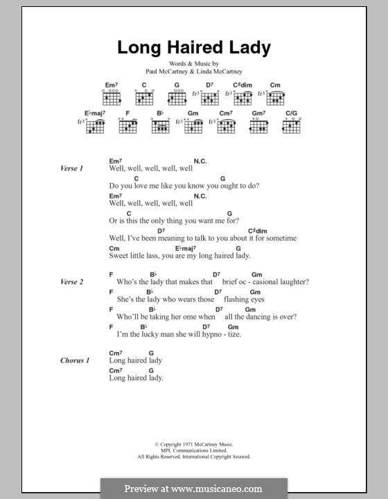Long Haired Lady: Текст, аккорды by Linda McCartney, Paul McCartney