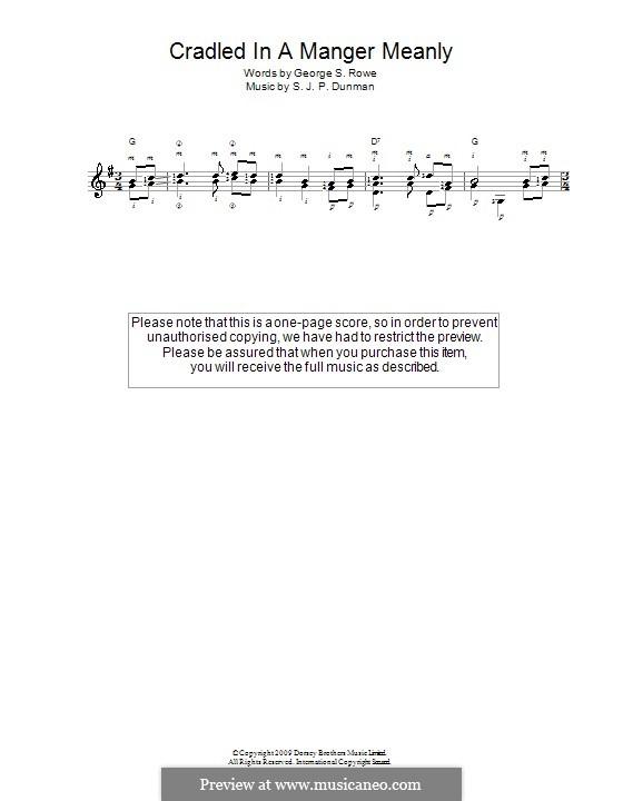 Cradled in a Manger, Meanly: Для гитары by S. J. P. Dunman