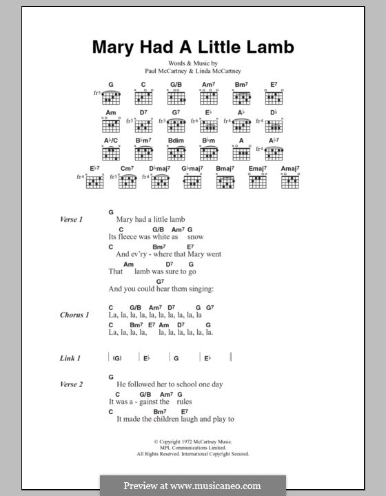 Mary Had a Little Lamb (Wings): Текст, аккорды by Linda McCartney, Paul McCartney