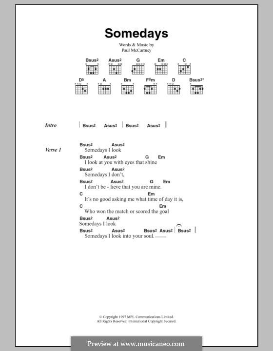 Somedays: Текст, аккорды by Paul McCartney