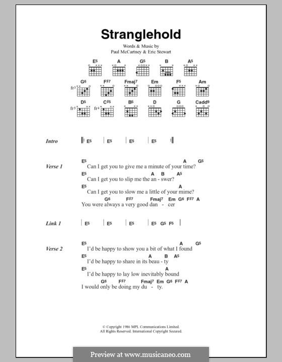 Stranglehold: Текст и аккорды by Eric Stewart, Paul McCartney