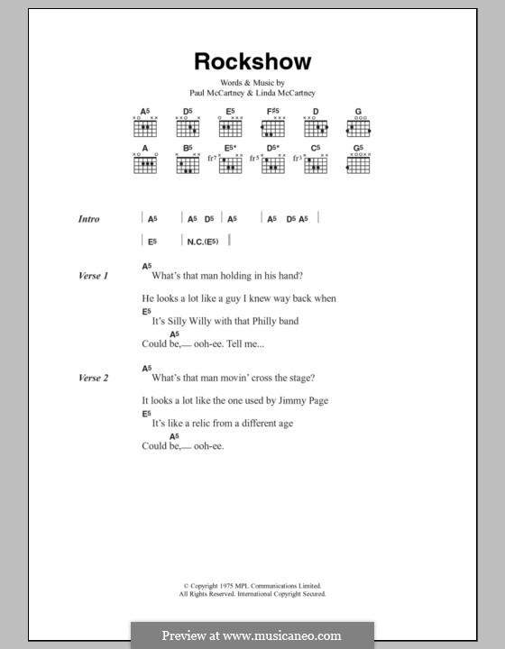 Rockshow (Wings): Текст, аккорды by Linda McCartney, Paul McCartney