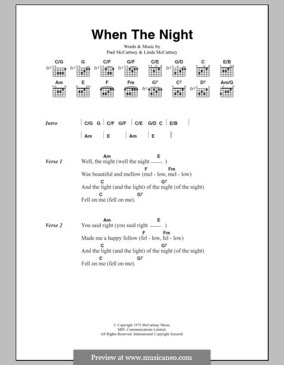 When the Night: Текст, аккорды by Linda McCartney, Paul McCartney