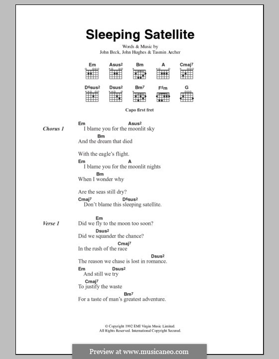 Sleeping Satellite: Текст и аккорды by John Hughes, John Beck, Tasmin Archer