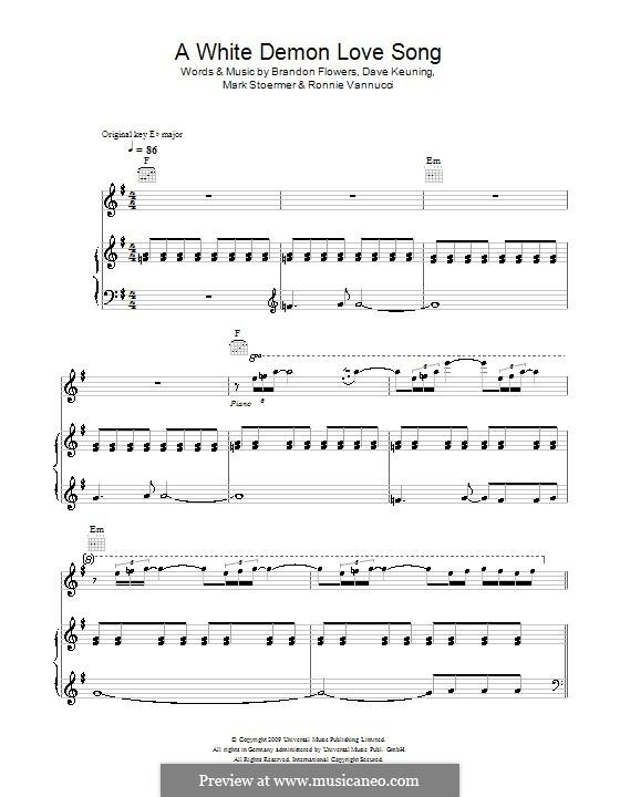 A White Demon Love Song (The Killers): Для голоса и фортепиано или гитары by Brandon Flowers, Dave Keuning, Mark Stoermer, Ronnie Vannucci