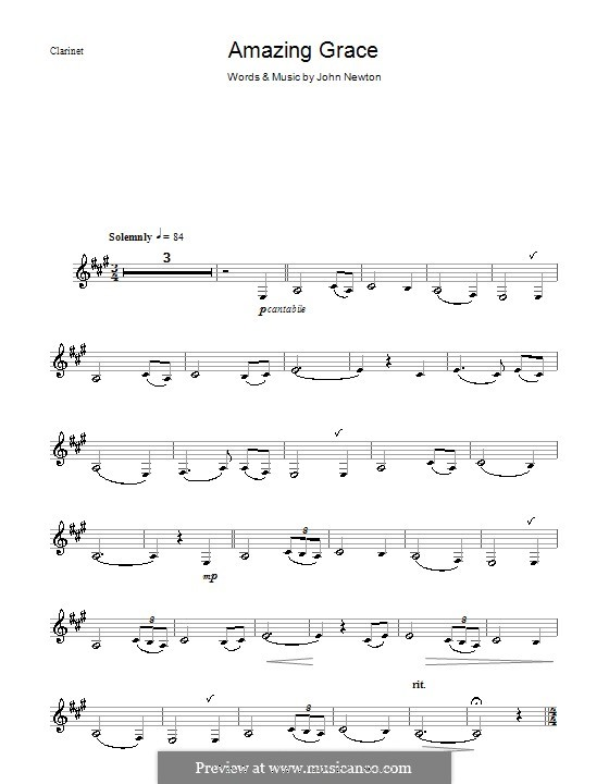 Amazing Grace (Printable Scores): Для кларнета by folklore