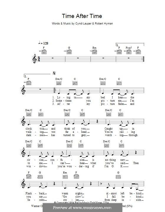 Time after Time: Мелодия, текст и аккорды by Cyndi Lauper, Robert Hyman