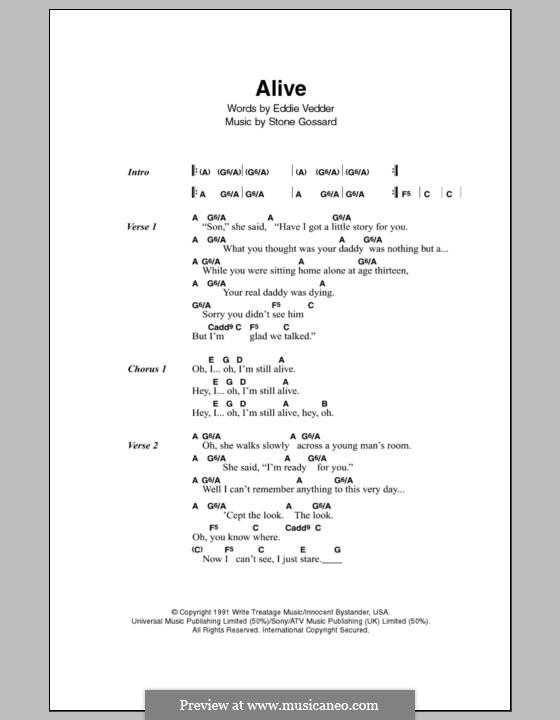 Alive (Pearl Jam): Текст, аккорды by Stone Gossard