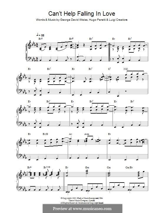 Can't Help Falling in Love: Для фортепиано by George David Weiss, Hugo Peretti, Luigi Creatore