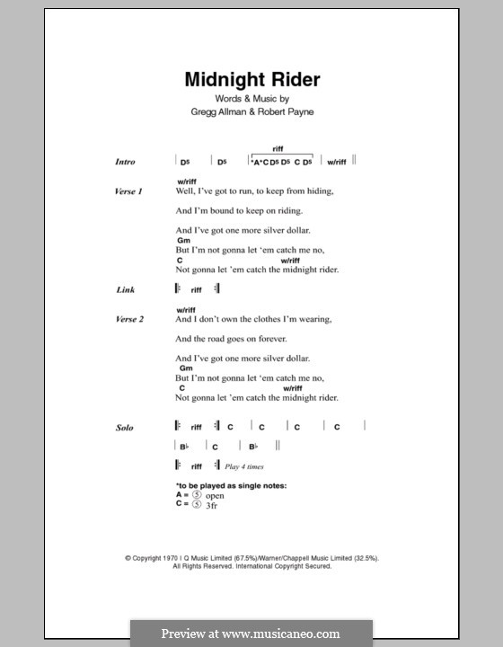 Midnight Rider (The Allman Brothers Band): Текст и аккорды by Gregg Allman, Robert Kim Payne