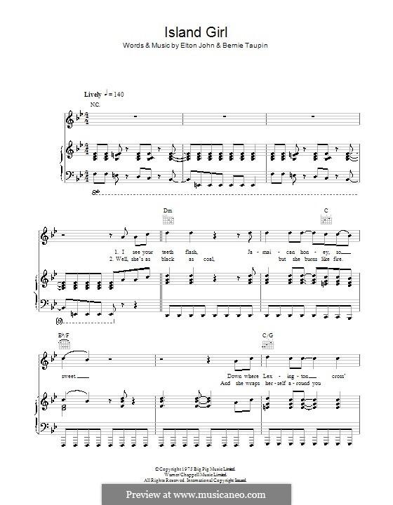 Island Girl: Для голоса и фортепиано (или гитары) by Elton John
