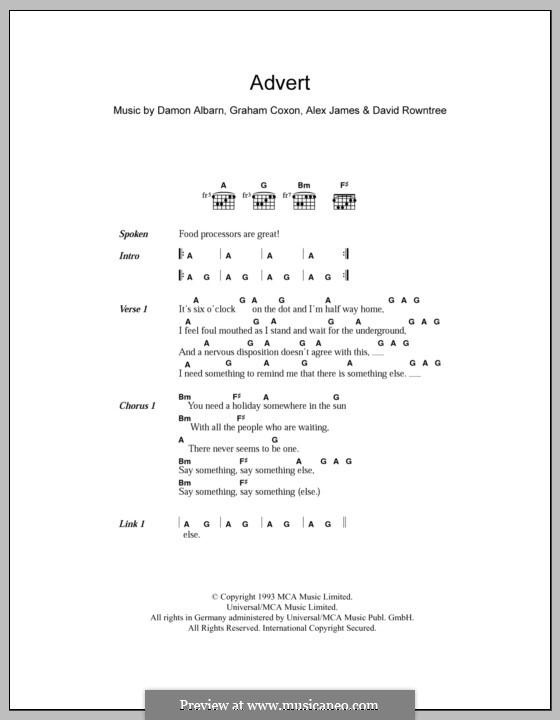 Advert (Blur): Текст и аккорды by Alex James, Damon Albarn, David Rowntree, Graham Coxon