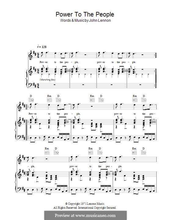 Power to the People: Для голоса и фортепиано (или гитары) by John Lennon
