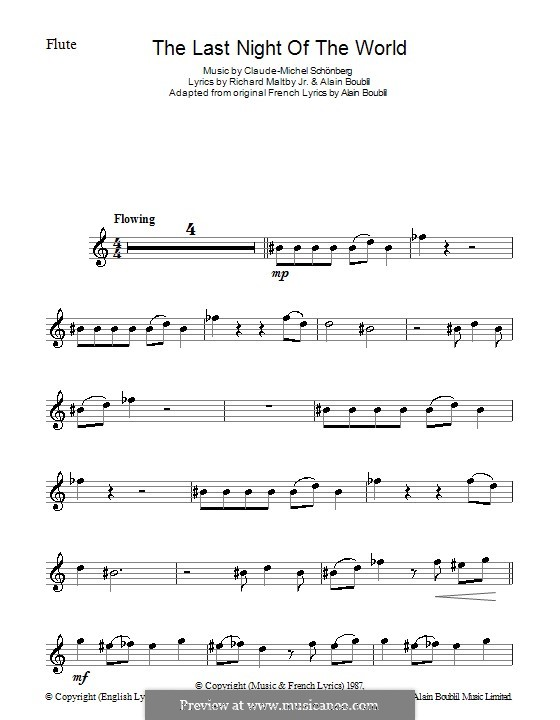The Last Night of the World: Для флейты by Claude-Michel Schönberg