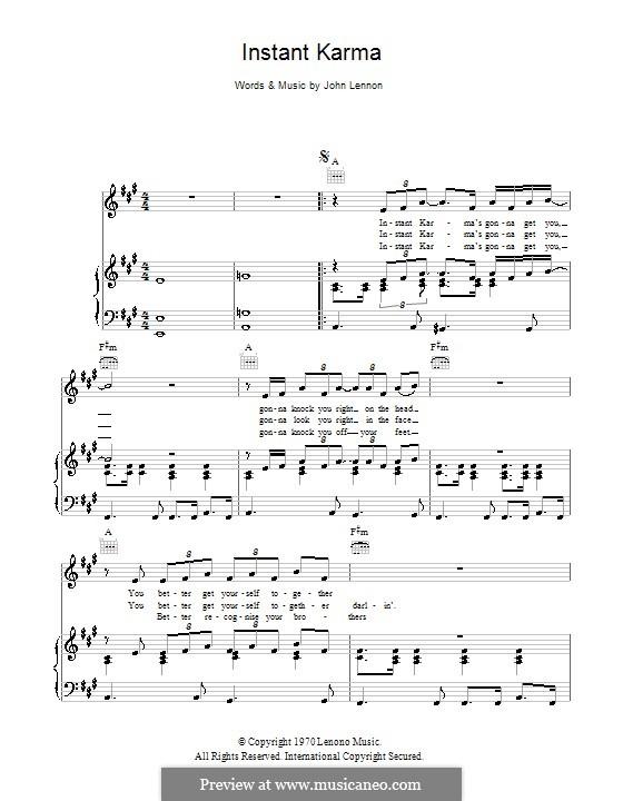 Instant Karma: Для голоса и фортепиано (или гитары) by John Lennon