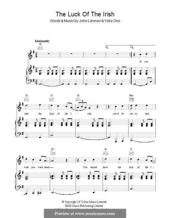 The Luck of the Irish: Для голоса и фортепиано (или гитары) by John Lennon, Yoko Ono