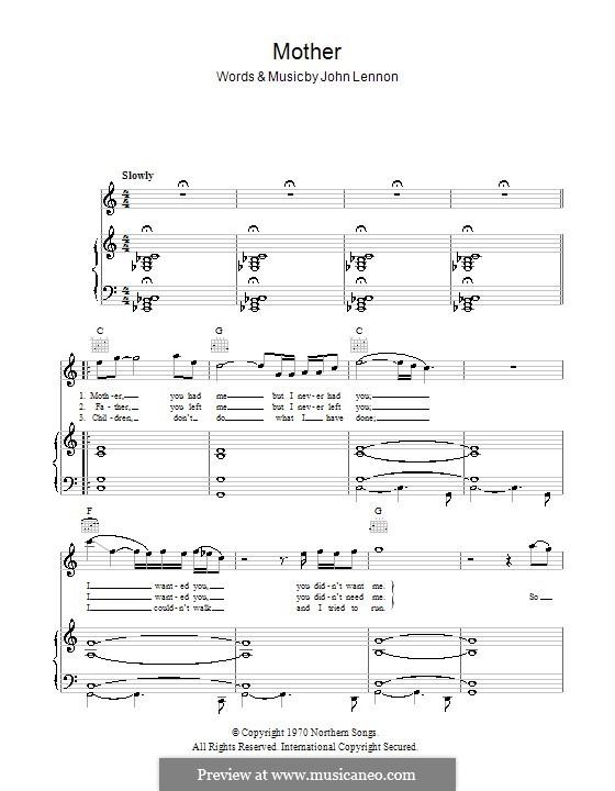Mother: Для голоса и фортепиано (или гитары) by John Lennon
