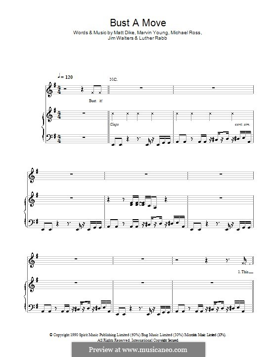 Bust a Move: Для голоса и фортепиано или гитары (Glee Cast) by Marvin Young, Matt Dike