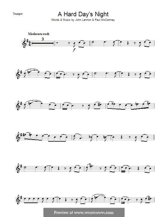 A Hard Day's Night (The Beatles): Для трубы by John Lennon, Paul McCartney