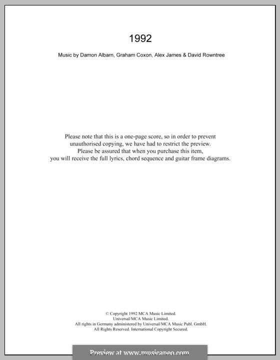 1992 (Blur): Текст и аккорды by Alex James, Damon Albarn, David Rowntree, Graham Coxon