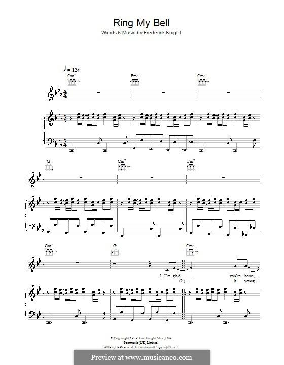 Ring My Bell (Anita Ward): Для голоса и фортепиано (или гитары) by Frederick Knight
