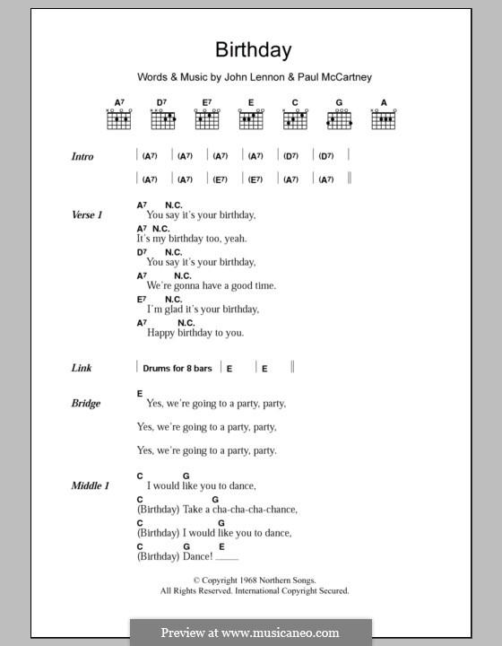 Birthday (The Beatles): Текст, аккорды by John Lennon, Paul McCartney