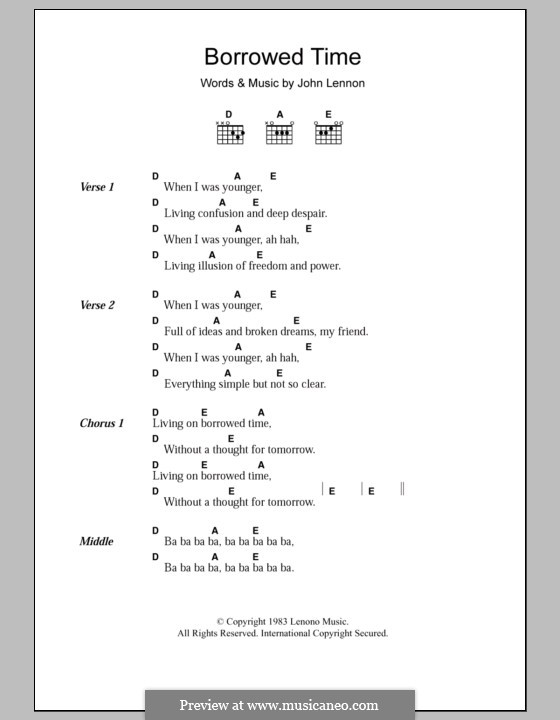 Borrowed Time: Текст, аккорды by John Lennon