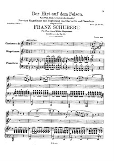 Пастух на скале, D.965 Op.129: Партитура by Франц Шуберт